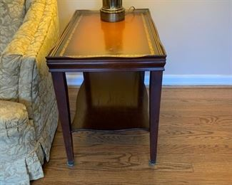 "#3	Wood table with one shelf on casters 16""x25""x23"" 2 @ $20 each"