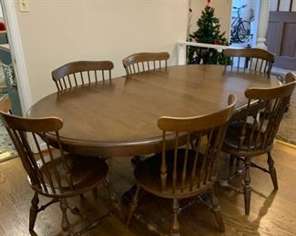 "#7	Pecan table with 8 chairs and 2 leaves 44""-73""x44""x28""	 $125.00 	 $-"