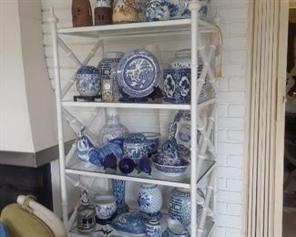 One of several etageres and a sampling of the large selection of decorative blue and white ceramics and porcelains.