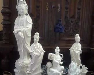 Quan Yin invarious sizes in blanc de chine.