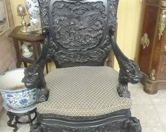 Ornate carved Chinese imperial chair