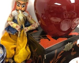 Collection of boxes, Indian puppet, Oxblood ginger jar