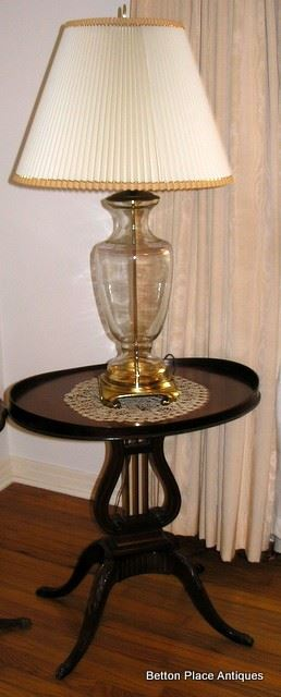 Pair of Mahogany Lyre Oval end table