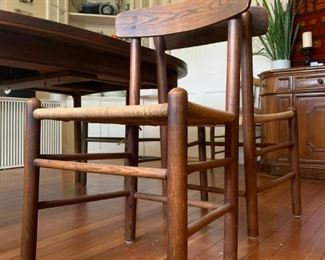 Teak Dining Table with Three Extensions, Rush Seat Teak Chairs