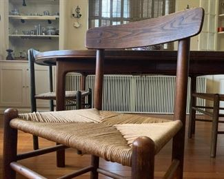 Rush Seat Teak Chairs