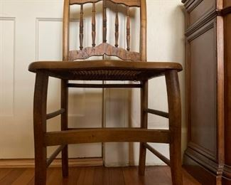 Bird's Eye Maple Cane Seat Chairs, PAIR