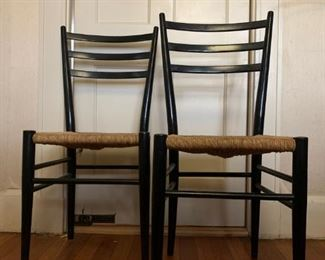 Rush Seat Ladder Back Chairs, PAIR