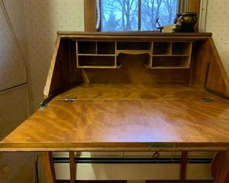Tiger Maple Drop Front Writing Desk