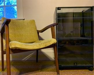 Mid Century Armchair, Record Player Console Cabinet with Smoked Glass