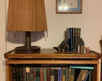 Barrister Bookcase, Vintage Lamp, Books