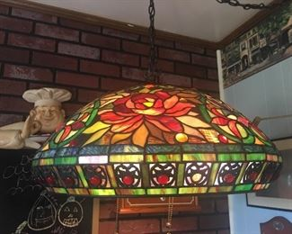 """This beautiful Tiffany styled hanging lamp  measures  22"""" across x 9"""" high"""