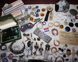 Political pinbacks, Pete Seeger Tickets, Vintage Jewelry