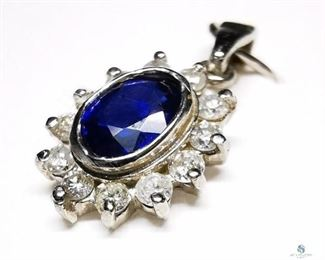 14K  Natural Sapphire From Ceylon Diamond Pendant