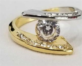 .925 Silver and Gold Tone with Clear Crystal Ring