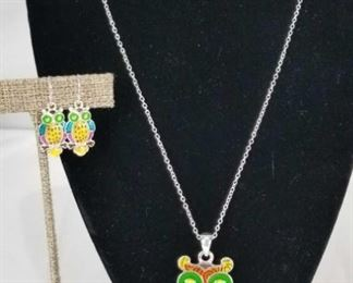 Rainbow Mosaic Owl Pendant and Earrings Set