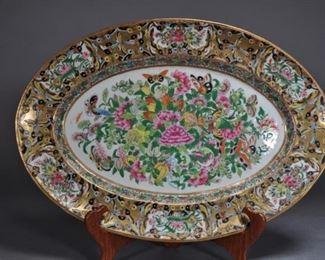 10 Rare Chinese Export 1000 Butterflies Oval Platter