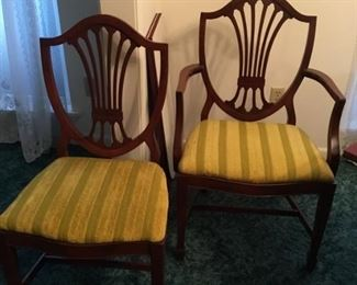 Chairs to Duncan Phyfe table - 6 total, 2 arm chairs