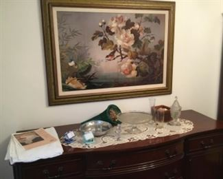 Top of Duncan Phyfe Sideboard with large framed picture