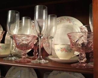 Homer Laughlin Nautilus Eggshell, pink depression glass, wine glasses