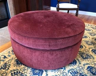 "Large 39"" diameter storage ottoman treated with Smithekote fabric protectant and purchased from Walter E. Smithe"