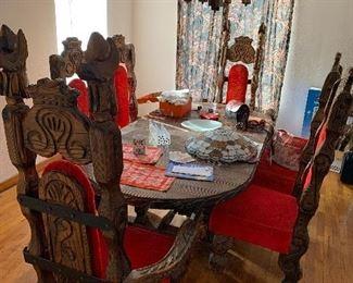 Spanish Don Quixote Carved Dinning Set