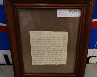 Civil War Personal Letter, Framed