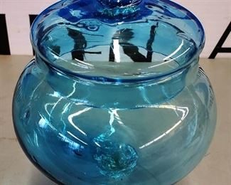 Blown Glass Lidded Candy Dish