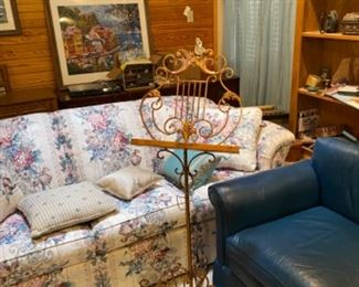 Vintage 1960's Blue Leather Sofa and Loveseat