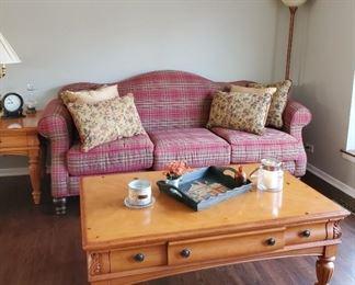 Red plaid livingroom set