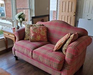 Red plaid living room set