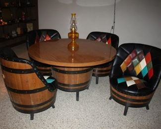 Amazing 1960 - 1970's JC Penney Whine Barrel Bar Furniture.  Mint Condition.
