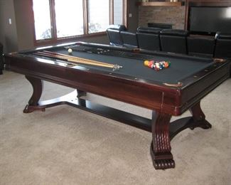 "Custom Built Cherry Pool Table 8' with 1"" Slate and Leather Pockets, includes a Custom Built Matching Cherry Cover"
