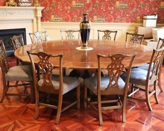 """72"""" Round Banded Mahogany Table with 10 Chippendale Style Chairs"""