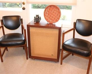 Chairs and Frazier Speakers with Decorative Plate and Bear