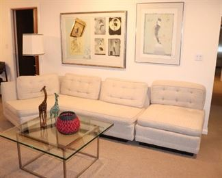 2 Piece White Sofa/Sectional and Square Metal and Glass Coffee Table, and Art
