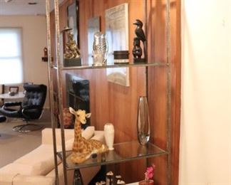 Curio Unit in Wood, Metal & Glass with Blown Glass, Ceramic and Sculptural Decorative, including Giraffe Collectibles