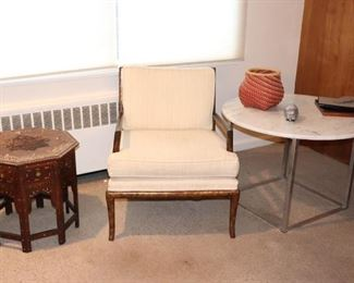 Mid Century Chair, Octagonal Inlaid Side Table and Round Table with Decorative Items