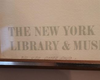 NY Public Library at Lincoln Center Framed Poster - Signed