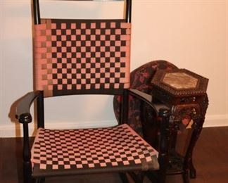 Checkered Rocking Chair and Small Hexagonal Occasional Table