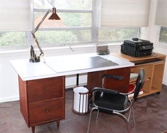Desk, Shelf Unit on Casters and Chair with Desk Lamp