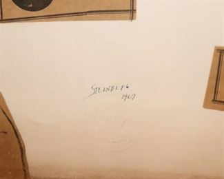 Numbered Signed Collage by Saul Steinberg