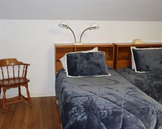 Pair of Beds with Headboards, Lamp and Chair