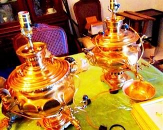 19th Century Russian Samovars converted into lamps.  (two each) Made at the Famous Tula Samovar Factory
