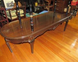 Long antique walnut coffee table