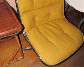 Mid Century yellow corduroy & chrome swivel chair