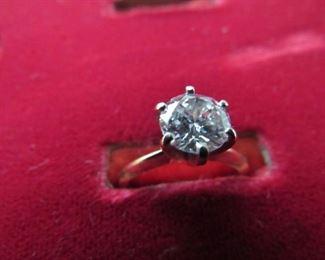Ladies 14K solitaire diamond ring, 1.25ct, round brilliant cut, SI1/H, 2.7g