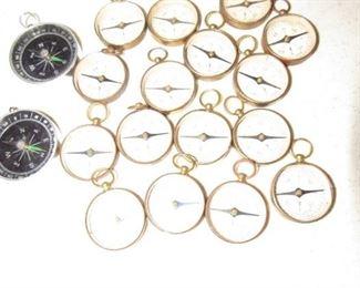 Vintage  brass compasses