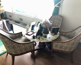 Vintage Bergere chairs & low table