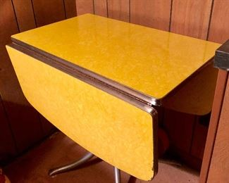 * Beautiful Yellow Drop Down Formica Dining Table.