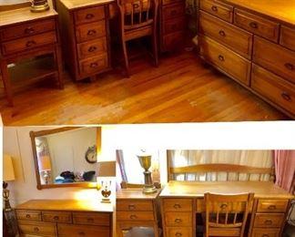 * 5/6 Piece Bedroom Set: Full Size Bedframe, Dresser w Mirror, Nightstand, Desk and Chair.